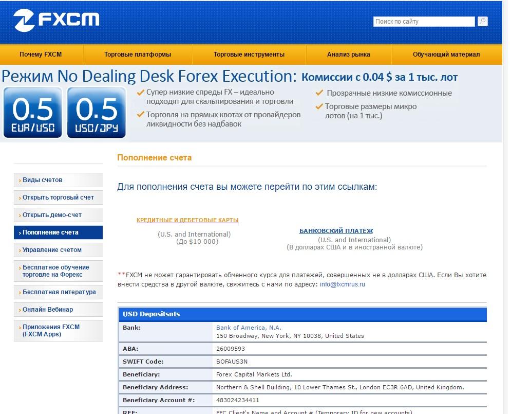 Пополнение торгового счета FXCM