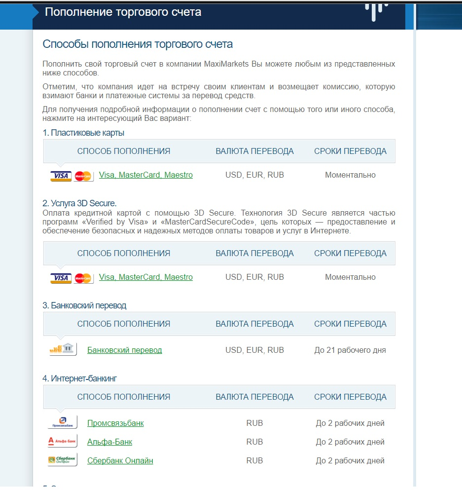 Регистрация нового торгового счета MaxiMarkets